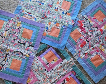 Vintage Quilt Blocks, Hand stitched and Lined, 4 Squares as Shown