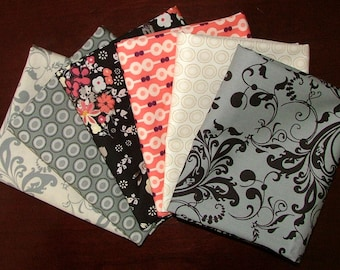 Fat Quarter Bundle of Rock n Romance Collection in Black & Coral designed by Pat Bravo for Art Gallery Fabrics LAST ONE