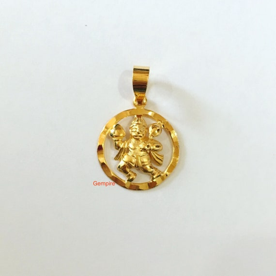 Gold hanuman pendant 18 kt solid gold lord hanuman prayer gold hanuman pendant 18 kt solid gold lord hanuman prayer charm india hindu deity god charm necklace protection charm amulet religious aloadofball Image collections