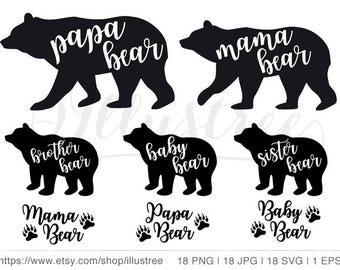 Mama bear SVG, cut file, papa bear, baby bear, silhouette, digital clip art set, JPG, PNG, eps vector file, instant download, commercial use