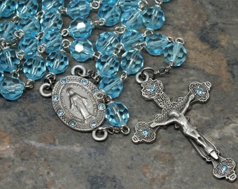 Czech Crystal Rosary in Aqua Bohemica, 5 Decade Rosary, Catholic Rosary, Auqa Rosary, March Rosary, Birthstone Rosary, Miraculous Medal