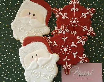 Christmas Cookies Santa & Snowflake Sugar Decorated Iced ~1 Dozen~Frost Yourself Cookies