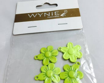 4 charms flower yellow painted metal neon 20 mm in diameter