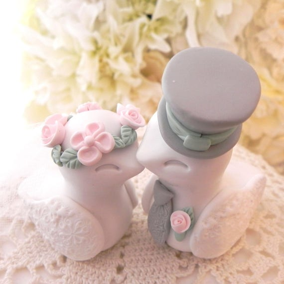 Love Birds Wedding Cake Topper, White, Blush Pink. Sage Green and Grey, Bride and Groom Keepsake, Fully Custom