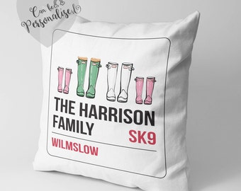 Personalised Family Address Cushion, Family Welly Boot, Anniversary Gift, Father's Day Gift, New Family, Gift For Parents, Housewarming Gift
