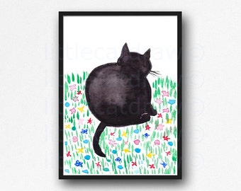 Cat Print Chubby Black Cat In The Garden Watercolor Painting Print Kitty Cat Art Print Wall Decor Cat Decor Cat Lover Gift Wall Art Unframed