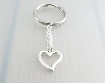 Heart Charm Keychain, Hollow Heart Charm Keyring, Silver Love Keychain, Gift For Friends, Valentines Gift