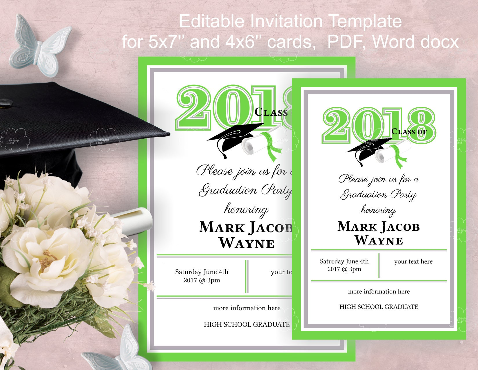 Graduation Party Invitation Template download, edit yourself ...