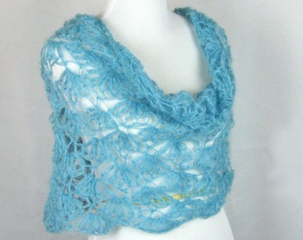 Cowl, Infinity Scarf, Crocheted, Kid Mohair, Silk Blend Yarn, Open Lacework, Aquamarine, Cozy Poncho, Lightweight, Handmade, Romantic, Gift