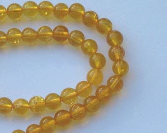 6 CITRINE yellow gemstone beads, diameter 6 mm round beads