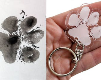 Keychain cat's paw or dog in clear transparent plexiglass made from your laser print. Unique personalized gift