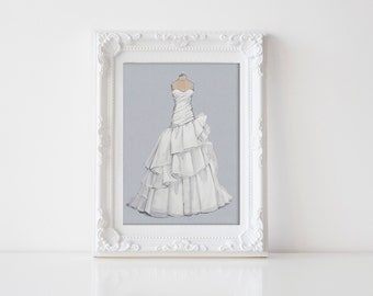 Custom Bridal Gown Illustration/ Wedding Dress Sketch (wedding,anniversary or bridal shower gift)
