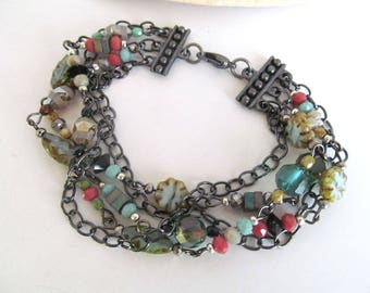Gypsy Travels Multi Strand Beaded Bracelet, Bohemian Bracelet, Boho Jewelry, Wandering Heart, Moonlilydesigns, Beaded Bracelet, Boho Chic