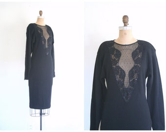 black lambswool sweater dress - 80s beaded sweater knit dress/ sheer illusion plunging neckline - 1980s dress / vintage 80s party dress