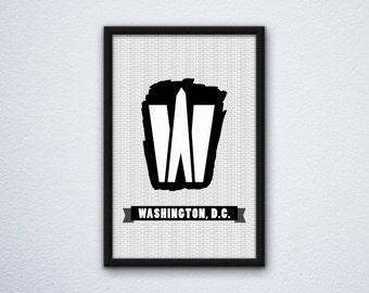 Washington Monument DC Letter W Poster