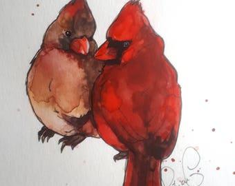 Cardinals (original watercolor)