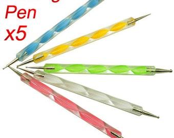 Set 5 PCS two way Dotting Pen Marbleizing Tools Kits Nail Art Dot Paint, Nail Art dotting tool, https://www.etsy.com/shop/1supply