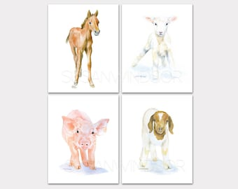 Watercolor Farm Animal Art Prints Nursery Childrens Room Set of 4 Horse Lamb Pig Goat PORTRAIT-Vertical Orientation
