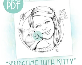 Springtime with Kitty - Single Adult Coloring Page Downloadable Printable PDF