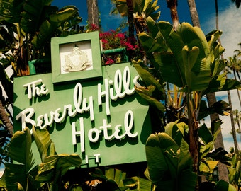Beverly Hills Hotel Neon Sign Photograph | Mid Century Modern Art | Hollywood Regency Decor | Regency Moderne Style | Hollywood Photo