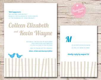 Love Birds Wedding Invitation / Beach Wedding Invitation