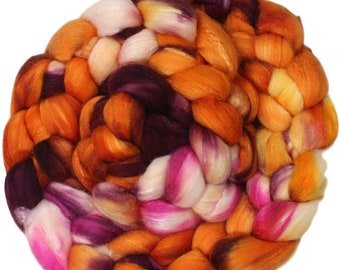 Marmalade - hand-dyed merino wool and silk (4 oz.) painted combed top