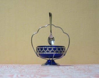 1970's Vintage Cobalt Blue Glass Sugar Bowl  in a Stainless Chrome Stand - A MAYELL PRODUCT, Made in England