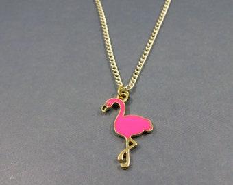 Flamingo necklace - flamingo charm - flamingo pink gift - Flamingo bird necklace