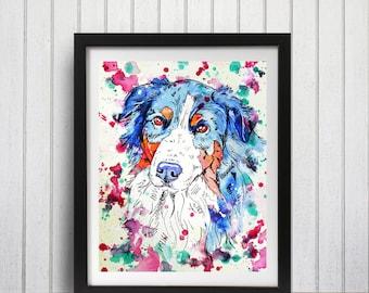 Australian Shepherd Art Print, Aussie Shepherd, Dog wall art, Wall decor, Dog lover gift