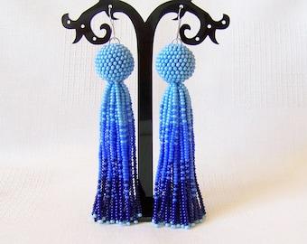 Ombre Blue tassel earrings - Luxury Fringe Earrings - Long Tassle earrings - Statement earrings - bridesmaid gift - modern fringe tassel