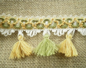 "Lace fringe ""tassels"" synthetic, Ecru, green and yellow embroidered width 6.5 cm"