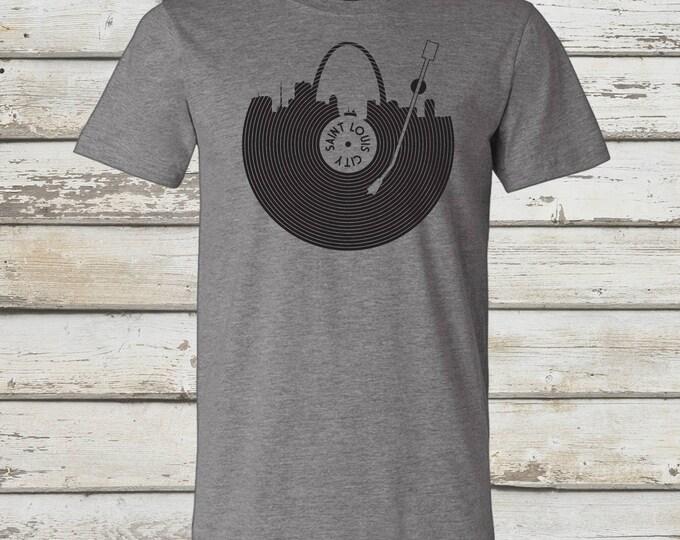 Featured listing image: STL Record T-Shirt - STL City Shirt by Benton Park Prints, St Louis, Saint Louis