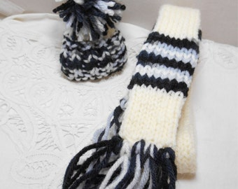 Winter Wine Bottle Scarf and Hat Set - Hand knitted - great for dolls - skinny scarf Black & Grey