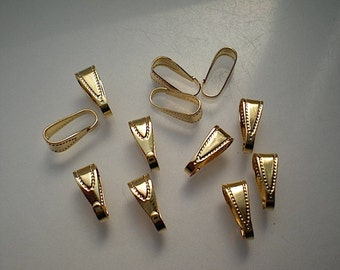 12 brass pendant bails, gold plated