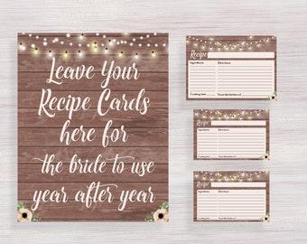 Rustic Recipe Cards, Bridal Shower Recipe Card, Printable Bridal Shower decor, Funny Bridal Shower games, Bachelorette, Wedding shower ideas