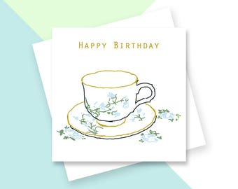 Cup and saucer Happy Birthday greetings card