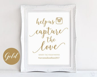 """Gold Wedding Hashtag Sign, Capture the Love Hashtag Sign, 8""""x10"""", DIY Printable Wedding Sign, Modern Calligraphy, VW10GOLD"""