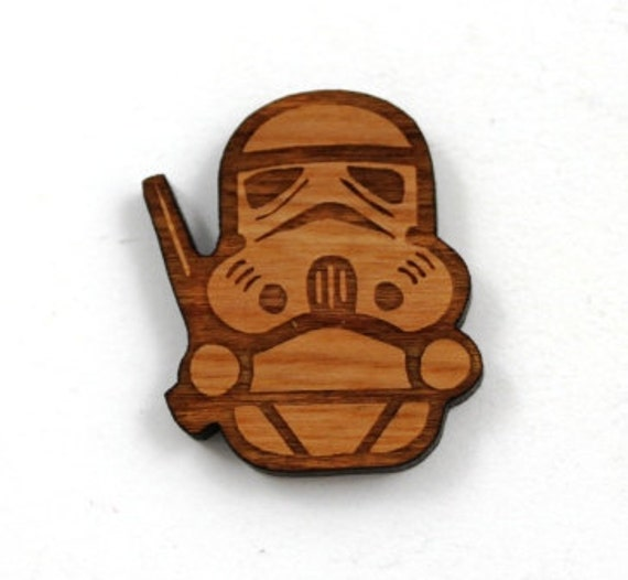 Laser Cut Supplies- 1 Piece.Storm Trooper Charms - Cherry Wood Laser Cut Star Wars- Little Laser Lab Sustainable Wood Products