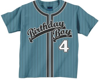 Birthday Boy Shirt - Personalized Baseball Jersey T-Shirt - Any Color - Any Name