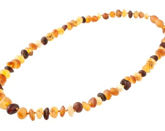 Variegated Amber Beads Necklace