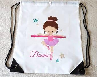 Ballet bag ballet gift dance bag tote bag personalised bag ballet dancer drawstring backpack drawstring bag gym bag school bag sports bag