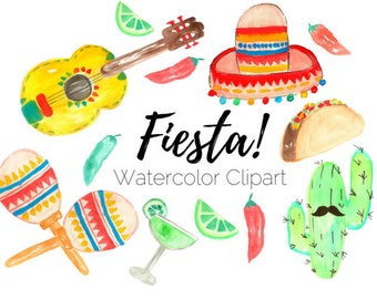Fiesta clip art - Taco Clip Art - Cinco De Mayo Clip Art - Watercolor clip art - Commercial Use
