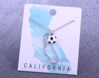 Customizable! State of Mine: California Soccer Enamel Necklace - Great Soccer Gift!
