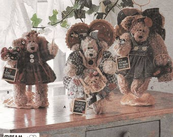 """A Bear with Jointed Arms & Legs, Dress, Apron, Headband, Bonnet, and Accessories Sewing Pattern: Uncut - 12"""" Tall Bear ~ Simplicity 7000"""
