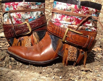 Upcycled Cowboy Boots- Custom Vintage Repurposed- Boho Gypsy Hippie- High Road- Size 7.5