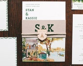 Rustic and Woodland Watercolor Camp Wandawega Wedding Invitation: Wes Anderson Inspired