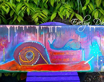 "Canvas ""the snail is the world expected"" Evelyn Dumont Artiste"