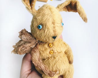 Ooak art doll - teddy primitive whimsical doll; bunny doll; collectible soft toy