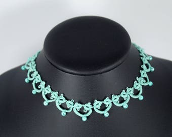 Mint necklace, jewelry from lace, filigree necklace, necklace, goiter tape, burlesque necklace,, goiter tape, gift, tatting jewelry