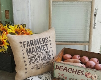 Farmers market burlap pillow
